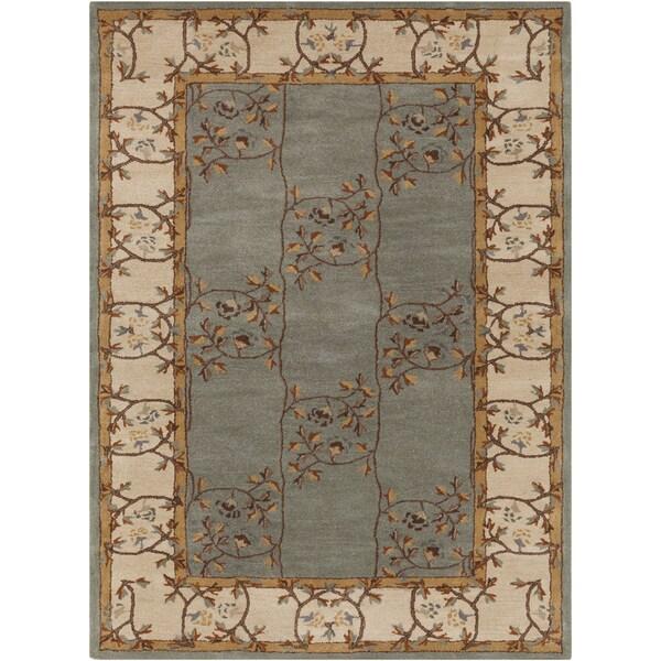 Hand-tufted Clady Casual Grey Border Wool Area Rug (10' x 14') - 10' x 14'