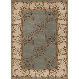 Hand-tufted Clady Casual Grey Border Wool Rug (10' x 14')