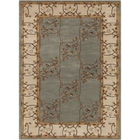 Hand-tufted Clady Casual Grey Border Wool Area Rug - 10' x 14'