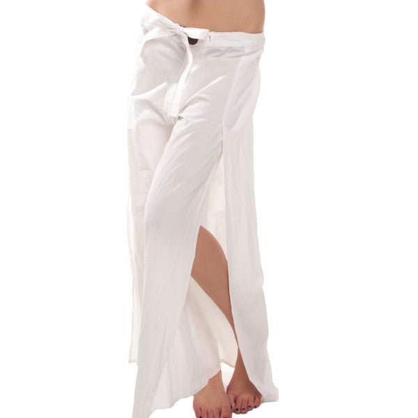 White Cotton Beach Pants with Slits (Nepal)