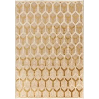 Berde Contemporary Gold Geometric Rug (5'2 x 7'6)