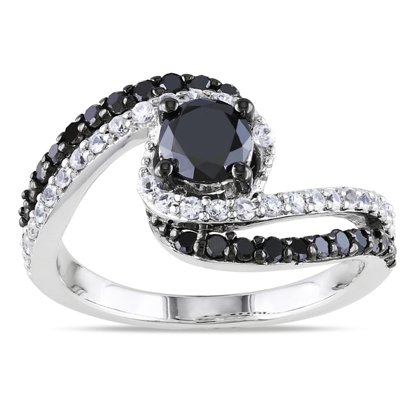 Miadora Silver 3/4ct TDW Black Diamond and Created Sapphire Ring