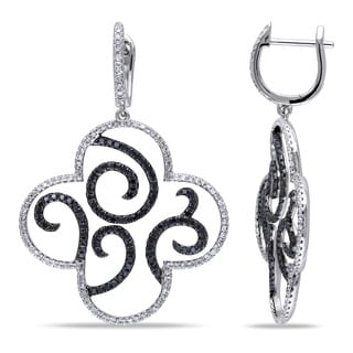 Miadora Signature Collection 14k White Gold 1 3/8ct TDW Black and White Diamond Earrings