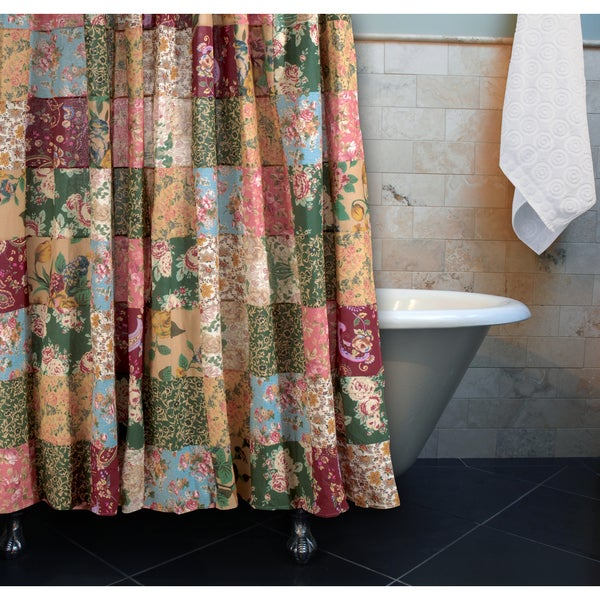 ... Home Fashions Blooming Prairie Patchwork Cotton Shower Curtain