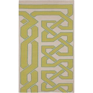 Hand-woven Adelmo Reversible Wasabi Wool Rug (5' x 8')