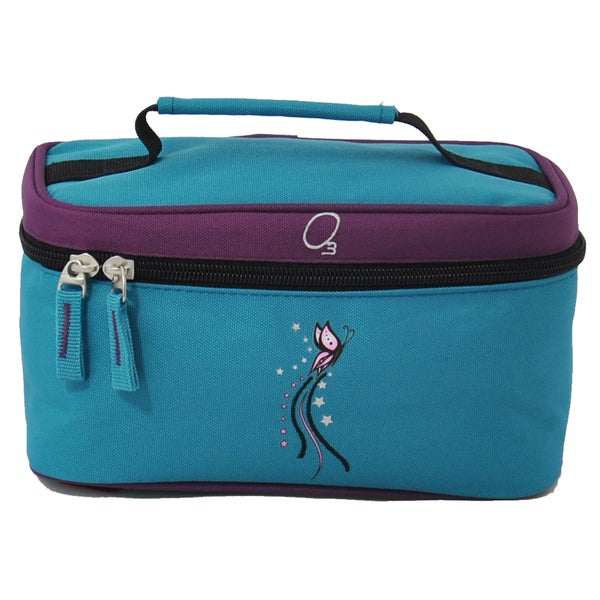 Obersee Turquoise Butterfly Kids Train Case Toiletry / Accessory Bag
