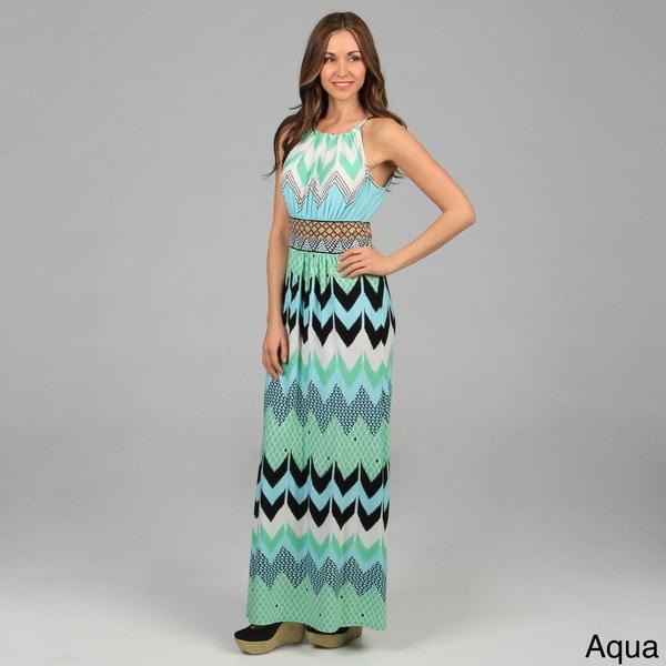 London Times Women's Chevron Pattern Matte Jersey Maxi Dress