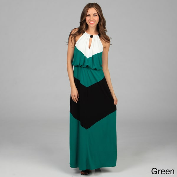 London Times Colorblocked Halter Matte Jersey Maxi Dress