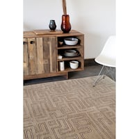 Allie Handmade Abstract Tan Wool Rug - 5' x 7'6