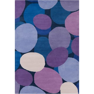 Handmade Allie Pebbels Blue Wool Rug (5' x 7'6)