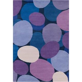 Handmade Allie Pebbels Blue Wool Rug - 5' x 7'6