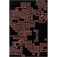 Handmade Allie Abstract Black Wool Rug - 5' x 7'6
