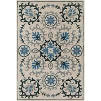 Handmade Allie Floral Cream Wool Rug - 5' x 7'6