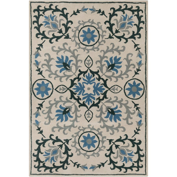 Handmade Allie Floral Cream Wool Rug (5' x 7'6) - 5' x 7'6