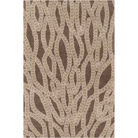 Handmade Allie Abstract Brown Wool Rug - 5' x 7'6