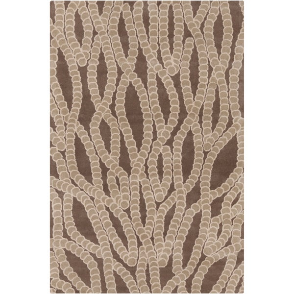 Handmade Allie Abstract Brown Wool Rug (5' x 7'6) - 5' x 7'6