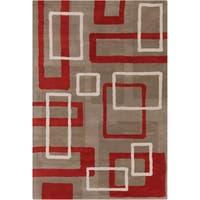 Handmade Allie Geometric Taupe Wool Rug - 5' x 7'6