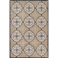 Handmade Allie Abstract Tan Wool Rug - 5' x 7'6