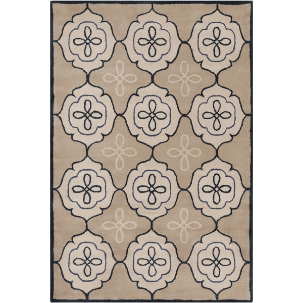 Handmade Allie Abstract Tan Wool Rug (5' x 7'6)