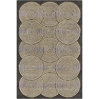Handmade Allie Geometric Grey Wool Rug (5' x 7'6)