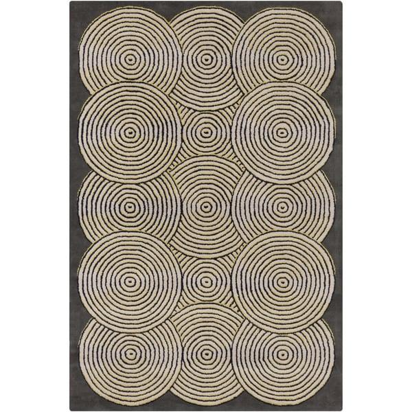 "Handmade Allie Geometric Grey Wool Rug - 5' x 7'6"""