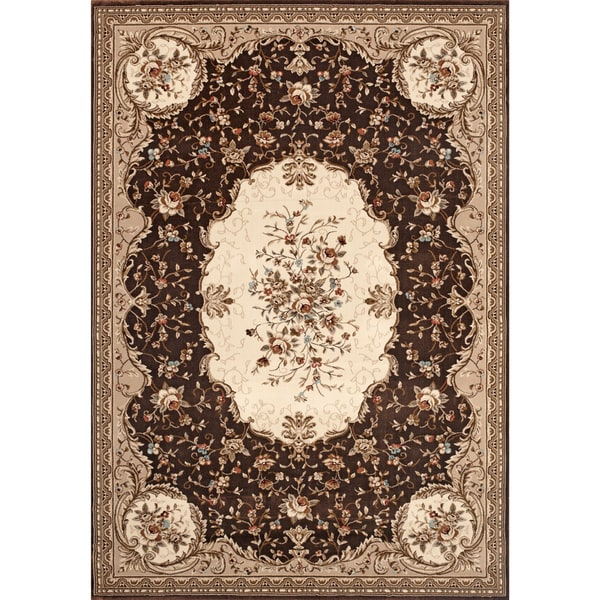 Savonnerie Traditional Brown Rug (5'3 x 7'10)