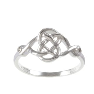 La Preciosa Sterling Silver White Topaz Celtic Love Knot Ring