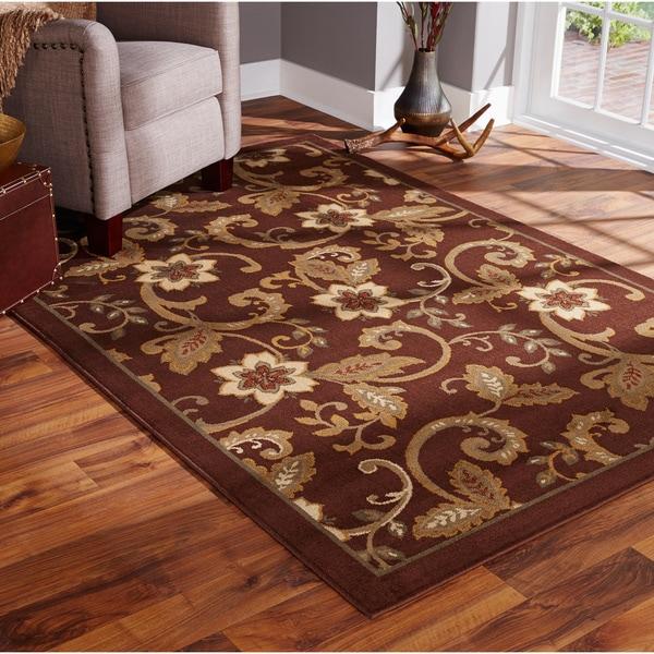 Indoor Floral Brown Ivory Rug 9 10 X 12 9 Free