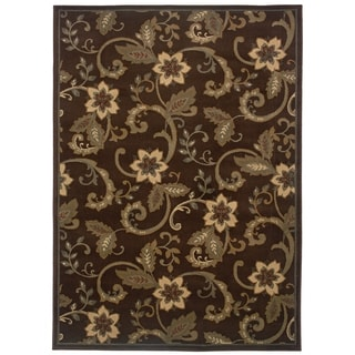 Indoor Floral Brown/ Ivory Rug (9'10 x 12'9)
