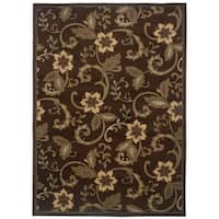 "Indoor Floral Brown/ Ivory Rug (9'10 x 12'9) - 9'10"" x 12'9"""