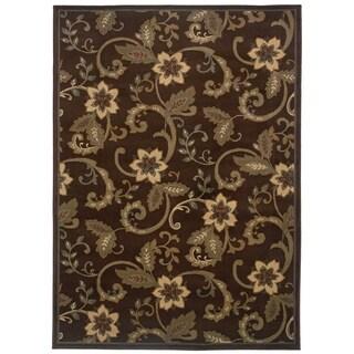 Indoor Floral Brown/ Ivory Rug - 9'10 x 12'9
