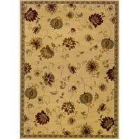 Indoor Floral Ivory/ Green Rug - 9'10 x 12'9