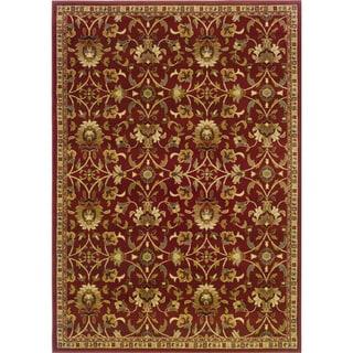 Indoor Floral Red/ Ivory Rug (9'10 x 12'9)
