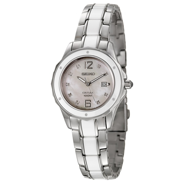 Seiko Women's SXDE85 'Coutura' Silvertone/Ceramic Mother of Pearl Dial Watch