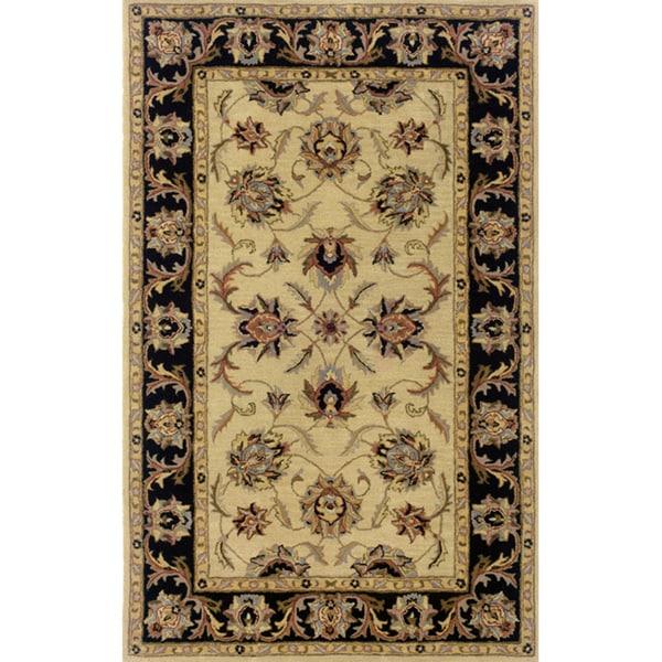 Hand-tufted Indoor Ivory/ Black Wool Rug (9'6 x 13'6) - 9'6 x 13'6