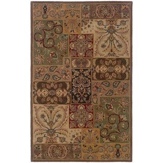 Hand-tufted Indoor Beige/ Brown Wool Rug (9'6 x 13'6)