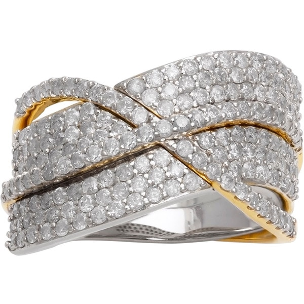 Beverly Hills Charm 14k Two-tone Gold 1 1/2ct TDW Diamond Crossover Ring (H-I, I2-I3)