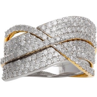 14k Two-tone Gold 1 1/2ct TDW Diamond Crossover Ring