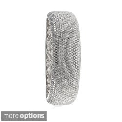Sterling Silver Pave-set Cubic Zirconia Bangle Bracelet