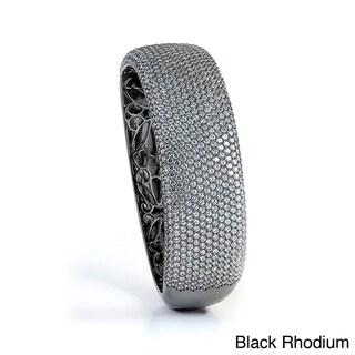 Sterling Silver Pave-set Cubic Zirconia Bangle Bracelet