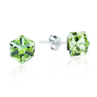 Handmade Crystal Prism Cube .925 Sterling Silver Post Earrings (Thailand) (More options available)