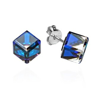 Handmade Crystal Prism Cube .925 Sterling Silver Post Earrings (Thailand)