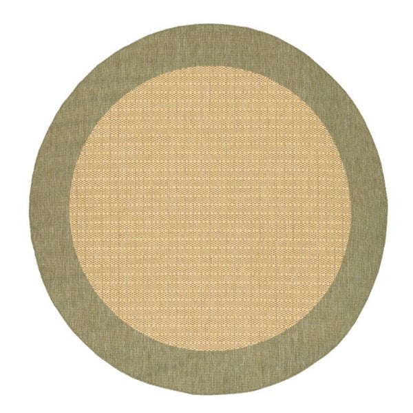 Power-Loomed Pergola Quad Natural/Green Polypropylene Rug (7'6 Round)