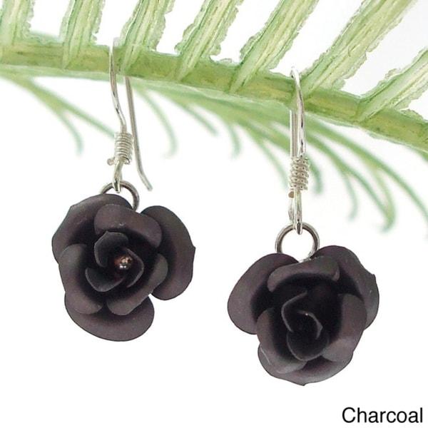 Handmade Blooming Roses .925 Sterling Silver Dangle Earrings (Thailand)