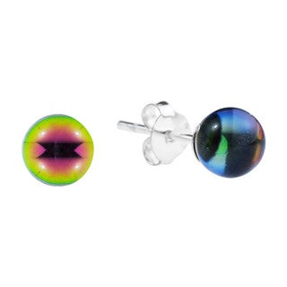 Crystal Round Ball Sterling Silver Post Earrings (Thailand)