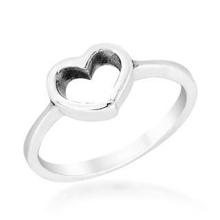 Handmade Modern Romance .925 Sterling Silver Heart Ring (Thailand)
