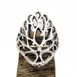 Handmade Fruitful Tree of Life Branch .925 Sterling Silver Ring (Thailand)