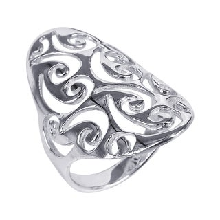 Handmade Big Oval Front Swirl Design .925 Sterling Silver Ring (Thailand)