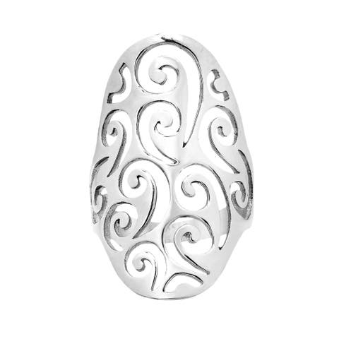 Handmade Oval Front Swirl Design .925 Sterling Silver Ring (Thailand)