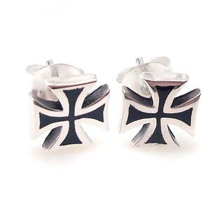 Handmade Solid Maltese Iron Cross Enamel Sterling Silver Earrings (Thailand)